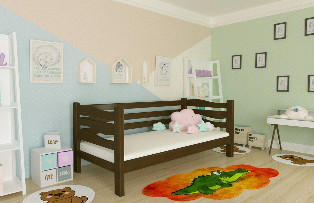 Кровать детская из натурального дерева сосна 80*190 Делиция MECANO цвет Темный орех 8MKR02