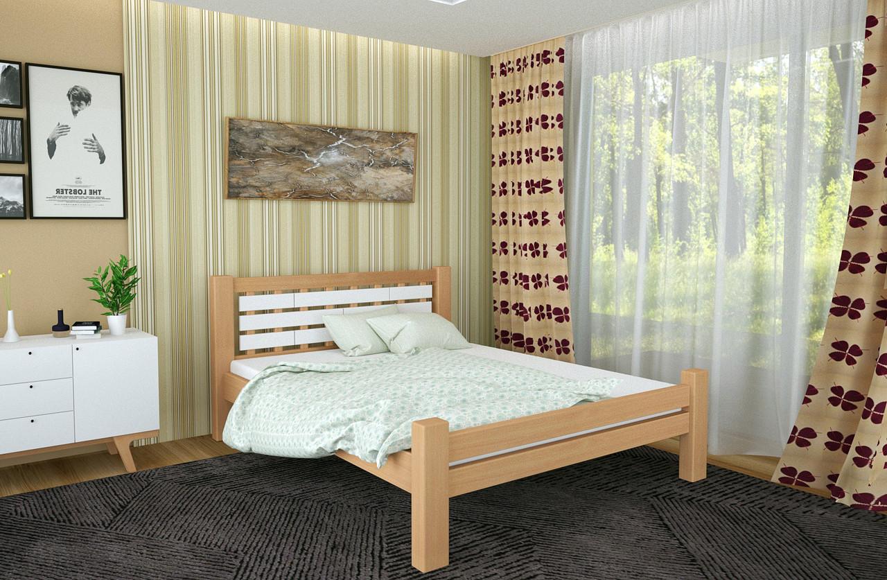 Двуспальная Кровать из дерева сосна 180*200 Гастия MECANO цвет Светлый орех 6MKR01