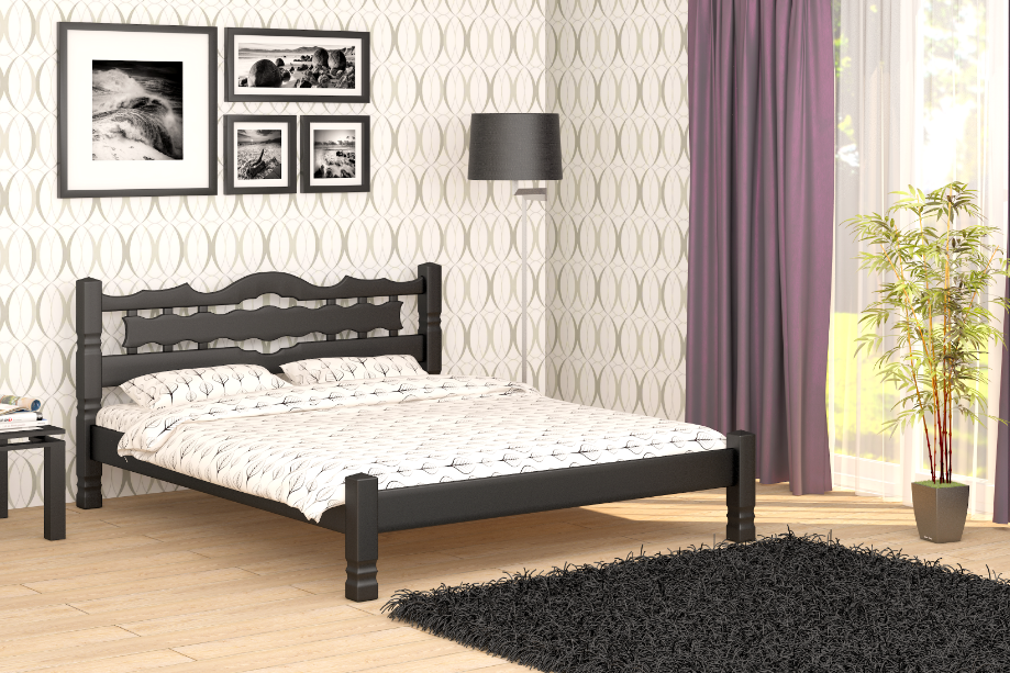 Кровать Двуспальная из дерева сосна 140*190 Арис MECANO цвет венге 2MKR032