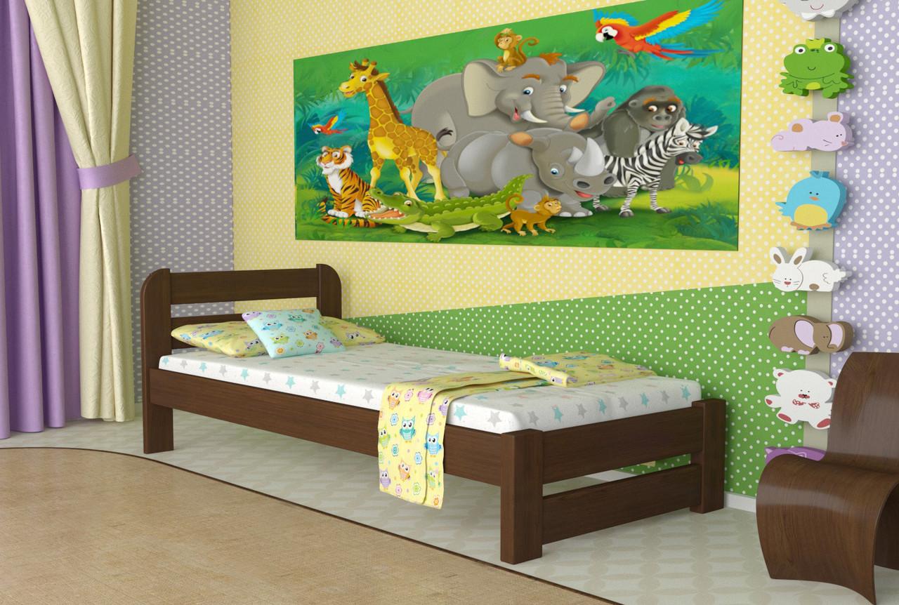 Кровать односпальная из дерева сосна 80*200 Престиж MECANO цвет Темный орех 20MKR07