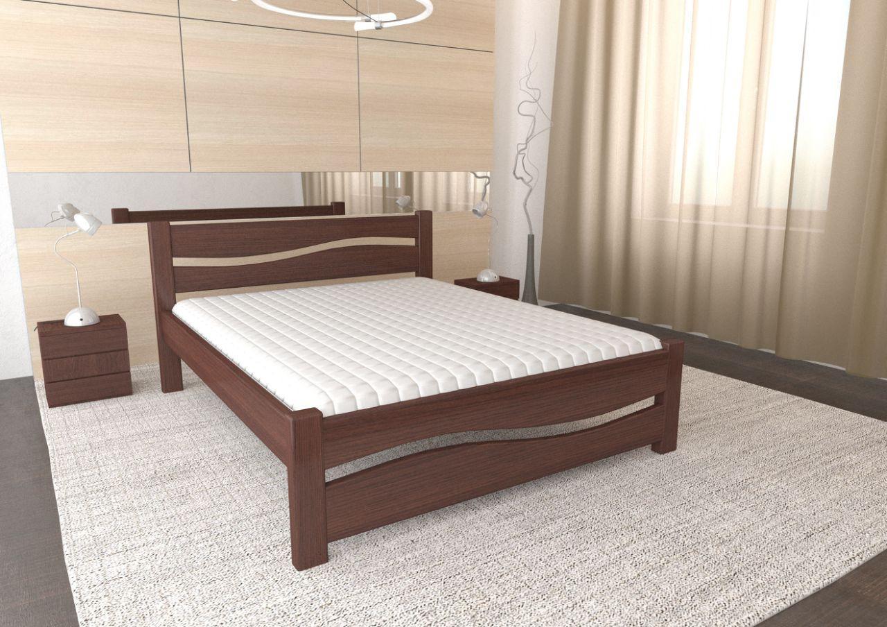 Двуспальная Кровать из дерева сосна 160*200 Волна MECANO цвет Темный орех 5MKR09