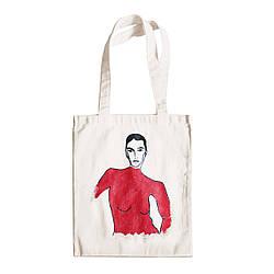 """Трикотажная светлая бежевая сумка для покупок """"эко-шоппер"""" ручной работы с принтом """"Woman"""",двунитка"""