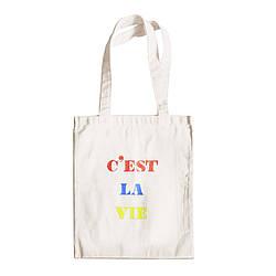 """Трикотажная светлая бежевая бежевая сумка для покупок """"эко-шоппер"""" ручной работы с принтом """"C`est La Vie"""",двунитка"""