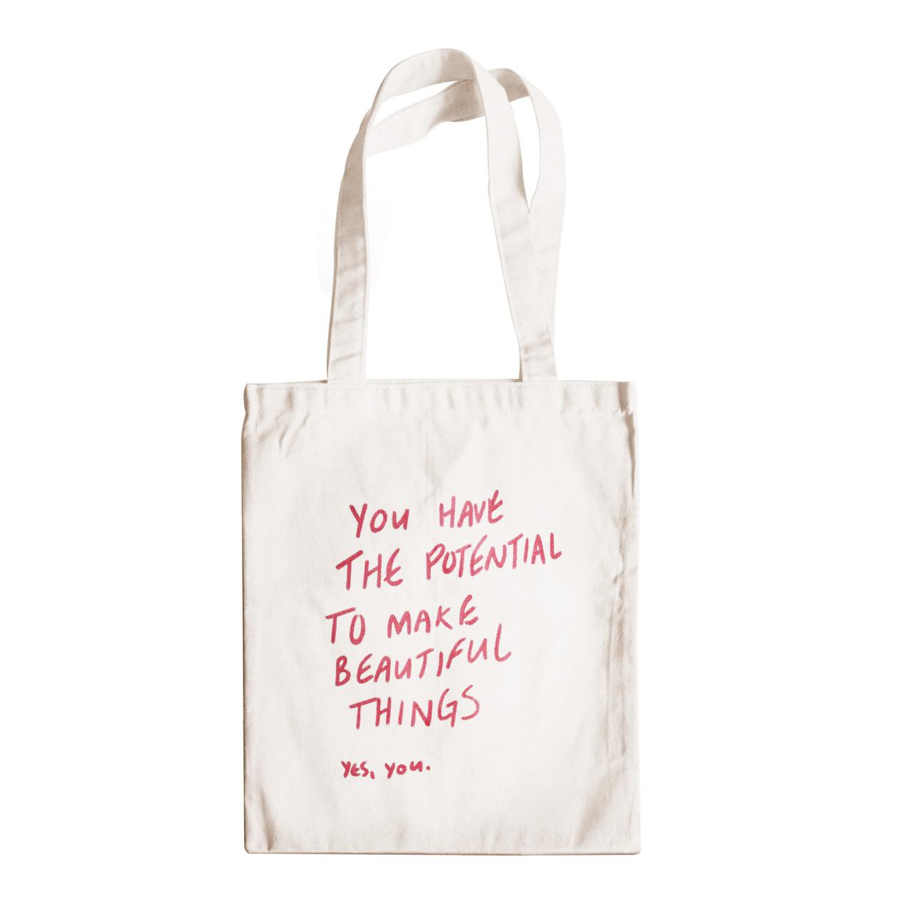 """Трикотажная светлая бежевая бежевая сумка для покупок """"эко-шоппер"""" ручной работы с принтом """"Yes, you"""",двунитка"""