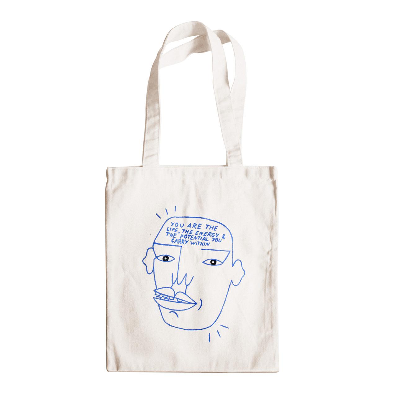 """Трикотажная светлая бежевая бежевая сумка для покупок """"эко-шоппер"""" ручной работы с принтом """"Mind"""",двунитка"""