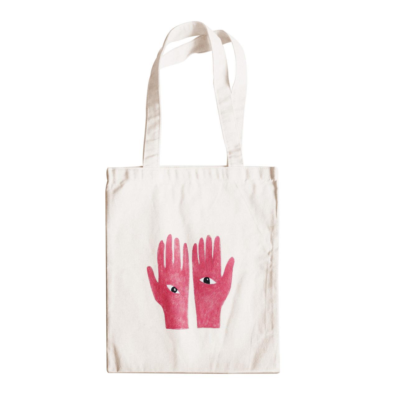 """Трикотажная светлая бежевая бежевая сумка для покупок """"эко-шоппер"""" ручной работы с принтом """"Hands"""",двунитка"""