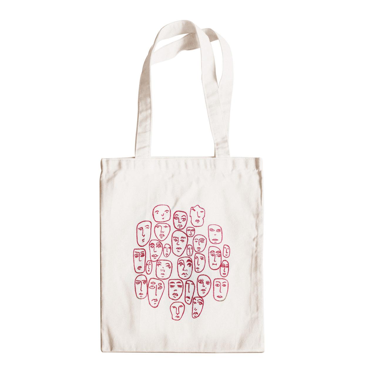 """Трикотажная светлая бежевая сумка для покупок """"эко-шоппер"""" ручной работы с принтом """"Faces"""",двунитка"""