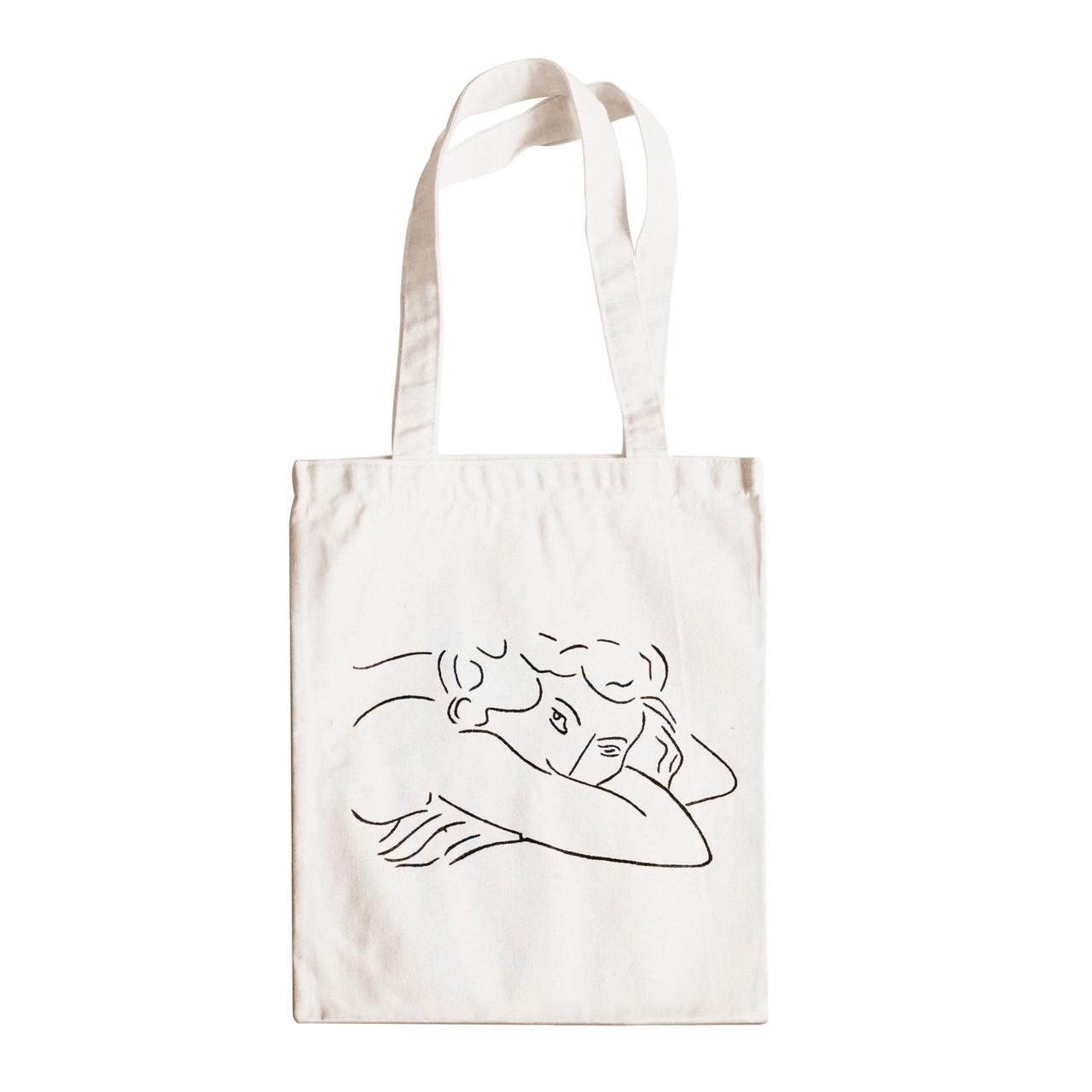 """Трикотажная светлая бежевая сумка для покупок """"эко-шоппер"""" ручной работы с принтом """"Lady"""",двунитка"""