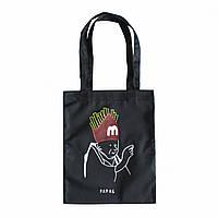 """Черная сумка для покупок """"эко-шоппер"""" ручной работы с принтом """"Papas"""", саржа"""
