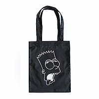 """Черная сумка для покупок """"эко-шоппер"""" ручной работы с принтом """"Bart"""", саржа"""