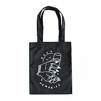 """Черная сумка для покупок """"эко-шоппер"""" ручной работы с принтом """"Good Memories"""", саржа"""