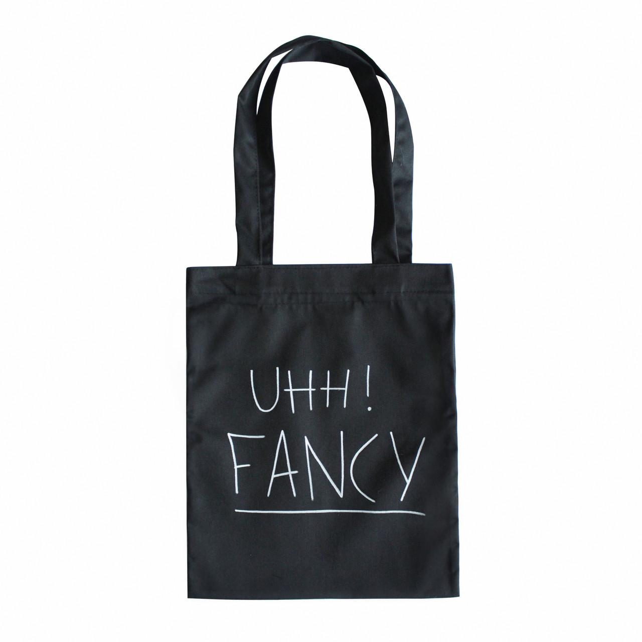 """Черная сумка для покупок """"эко-шоппер"""" ручной работы с принтом """"Uhh Fancy"""", саржа"""