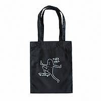 """Черная сумка для покупок """"эко-шоппер"""" ручной работы с принтом """"F*ck y'all"""", саржа"""