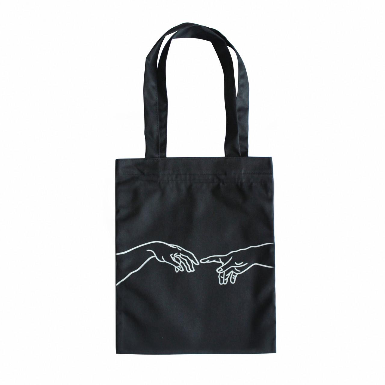 """Черная сумка для покупок """"эко-шоппер"""" ручной работы с принтом """"Connection"""", саржа"""