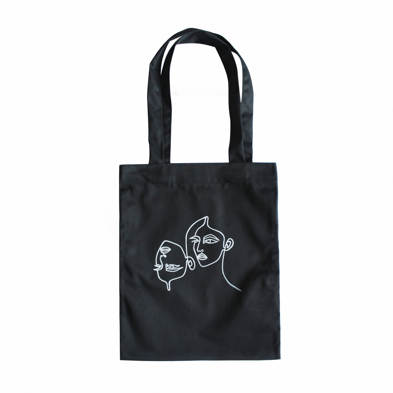 """Черная сумка для покупок """"эко-шоппер"""" ручной работы с принтом """"Mask Off"""", саржа"""