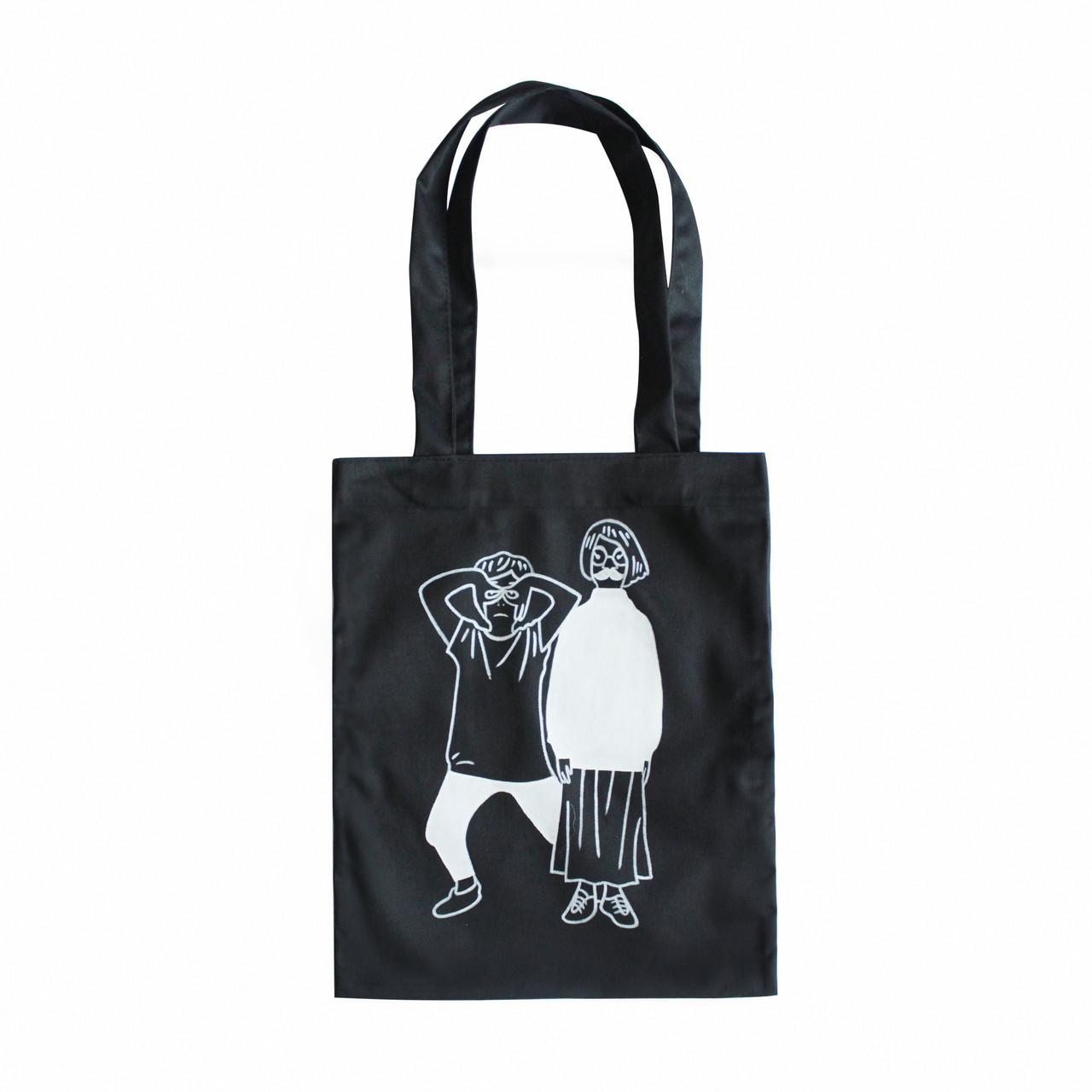 """Черная сумка для покупок """"эко-шоппер"""" ручной работы с принтом """"Couple"""", саржа"""