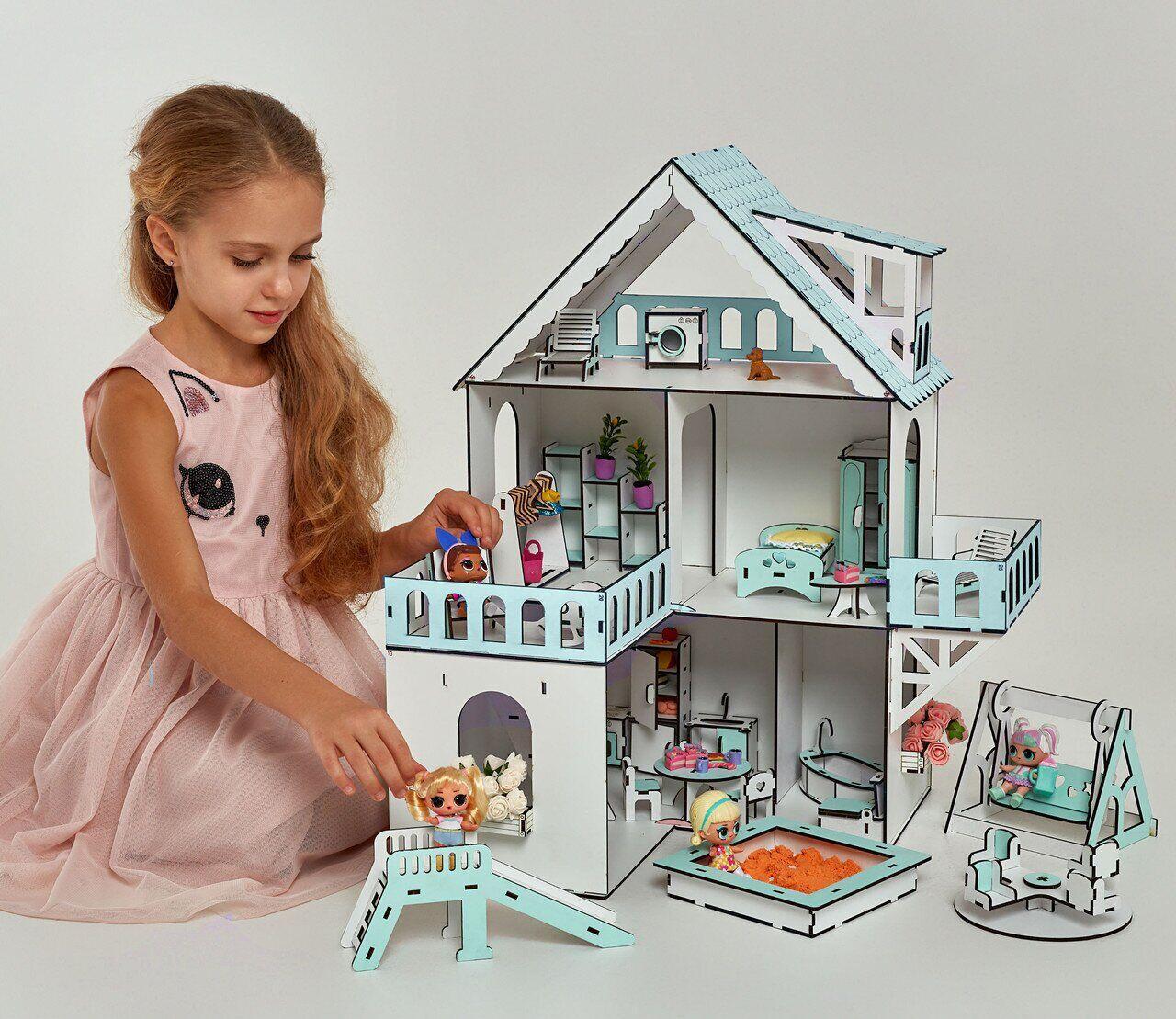 """Кукольный домик NestWood """"МИНИ КОТТЕДЖ"""" мятный для кукол LOL, 5 комнат (этаж 20см), без мебели"""