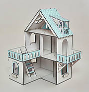 """Кукольный домик NestWood """"МИНИ КОТТЕДЖ"""" мятный для кукол LOL, 5 комнат (этаж 20см), без мебели, фото 3"""