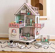 """""""МИНИ КОТТЕДЖ"""" кукольный домик NestWood для LOL на подставке с колесами, без мебели, розовый, фото 2"""