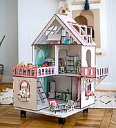 """""""МИНИ КОТТЕДЖ"""" кукольный домик NestWood для LOL на подставке с колесами, без мебели, розовый, фото 3"""