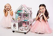"""""""МИНИ КОТТЕДЖ"""" кукольный домик NestWood для LOL на подставке с колесами, без мебели, розовый, фото 5"""