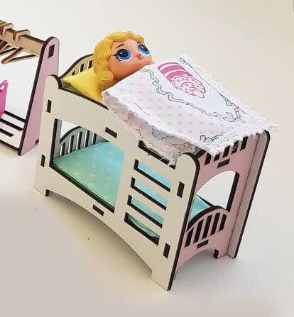 Двухъярусная кровать (Розовая) для кукол LOL