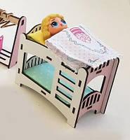 Двухъярусная кровать для кукол LOL и пупсов, розовая