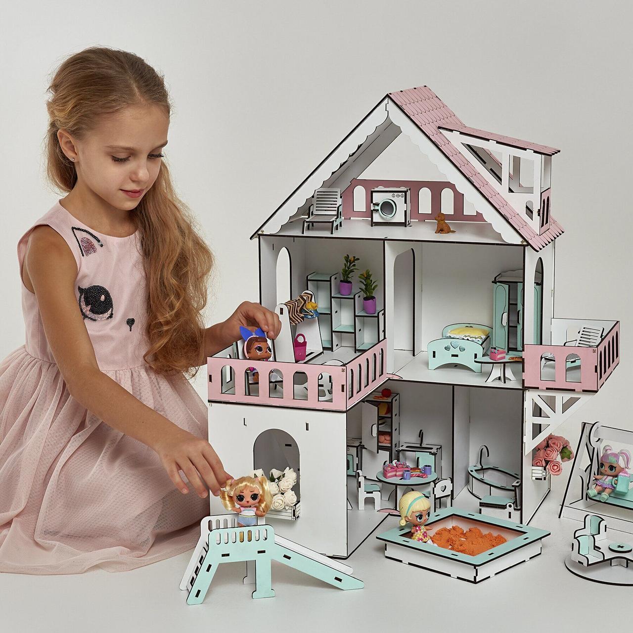 """""""МИНИ КОТТЕДЖ"""" кукольный домик NestWood для LOL, без мебели, розовый"""