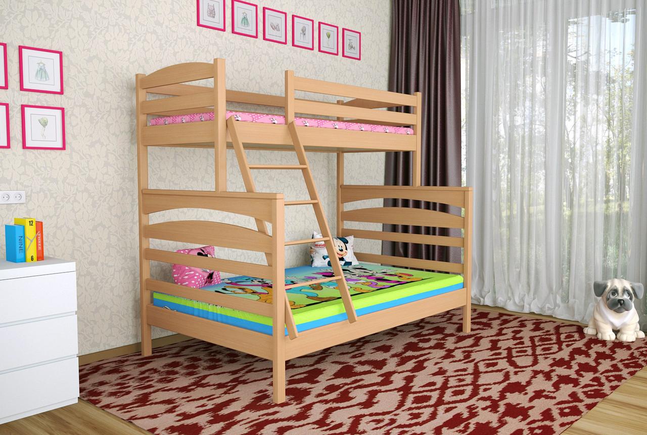 Двухъярусная кровать Деревянная массив сосны 140х90х200 Кай MECANO цвет Светлый орех 12MKR04