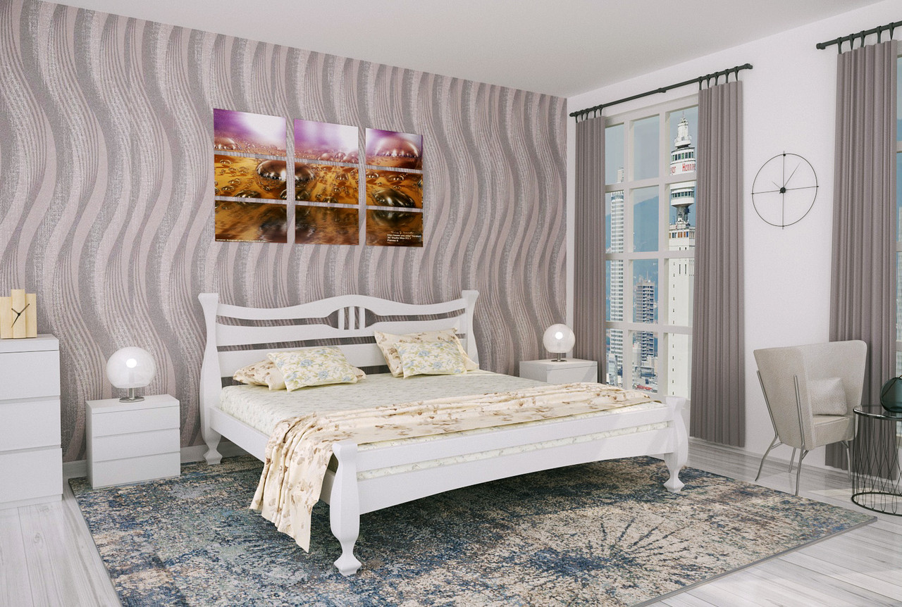 Двуспальная Кровать из дерева сосна 160*190 Кронос MECANO цвет Белый 14MKR036
