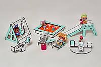 """Игровой набор NestWood """"ДЕТСКАЯ ПЛОЩАДКА"""" для кукол Лол (мятная), 8ед."""