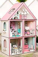 """""""СТАНДАРТ"""" кукольный домик NestWood для Барби, без мебели, розовый"""