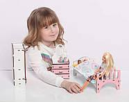 Мебель для кукольного домика Барби NestWood, бело-розовая (СПАЛЬНЯ), фото 4