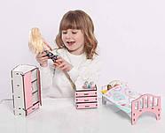 Мебель для кукольного домика Барби NestWood, бело-розовая (СПАЛЬНЯ), фото 5