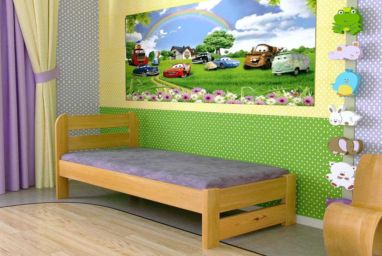Кровать односпальная из дерева сосна 90*200 Престиж MECANO цвет Светлый орех 20MKR04