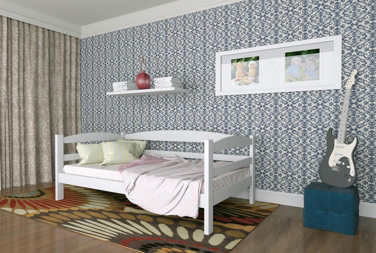 Кровать детская из натурального дерева сосна 80х200 Лёва MECANO цвет Белый 15MKR016
