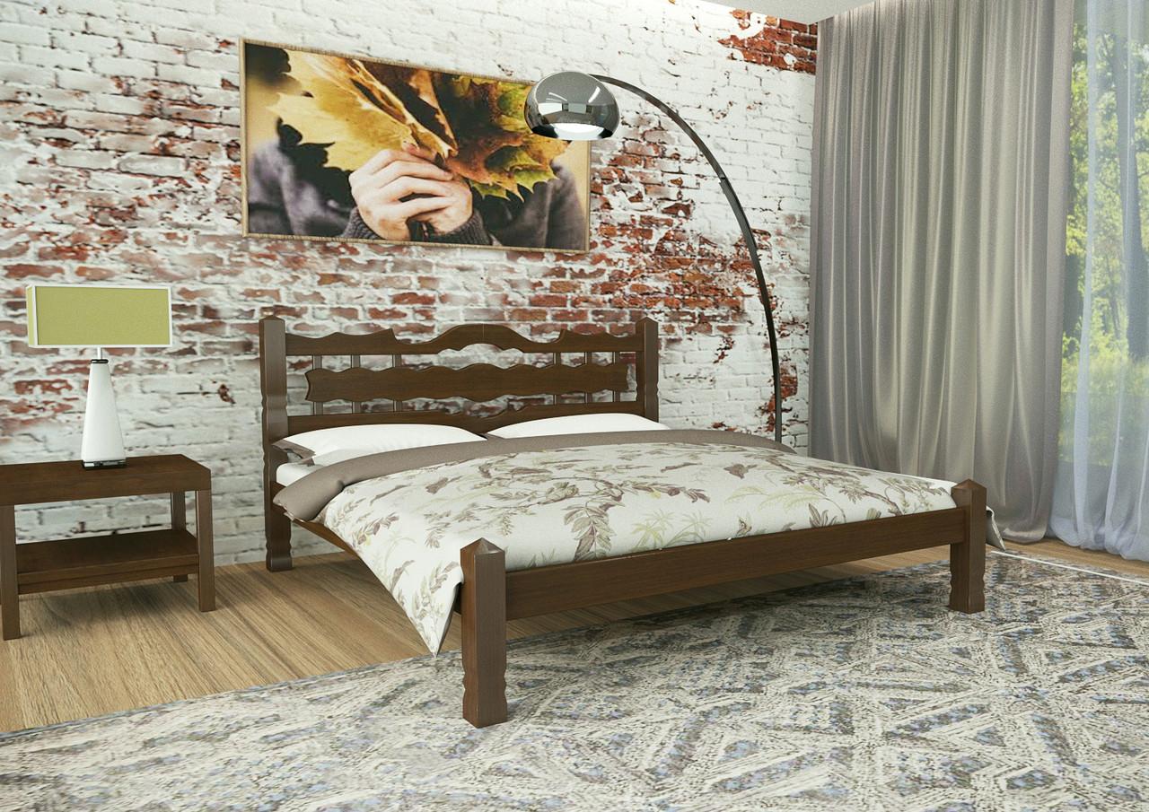 Кровать двуспальная из дерева сосна 180*190 Арис MECANO цвет Темный орех (2MKR03)