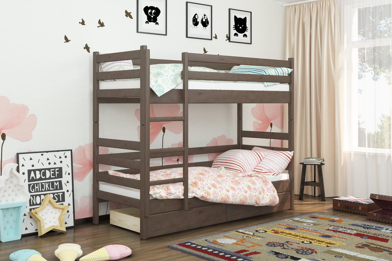 Двухъярусная кровать из дерева Сосна 90*200 Дуос Классик MECANO цвет Темный орех 11MKR01