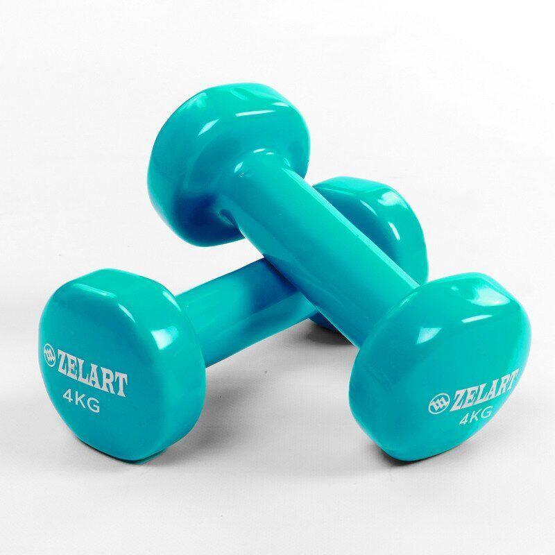 Гантели для фитнеса с виниловым покрытием Zelart Beauty (2x4кг) TA-5225-4S (2шт, бирюзовые)