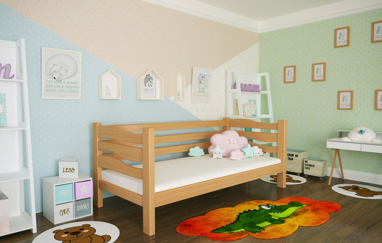 Кровать детская из натурального дерева сосна 90х200 Делиция MECANO цвет Светлый орех 8MKR07
