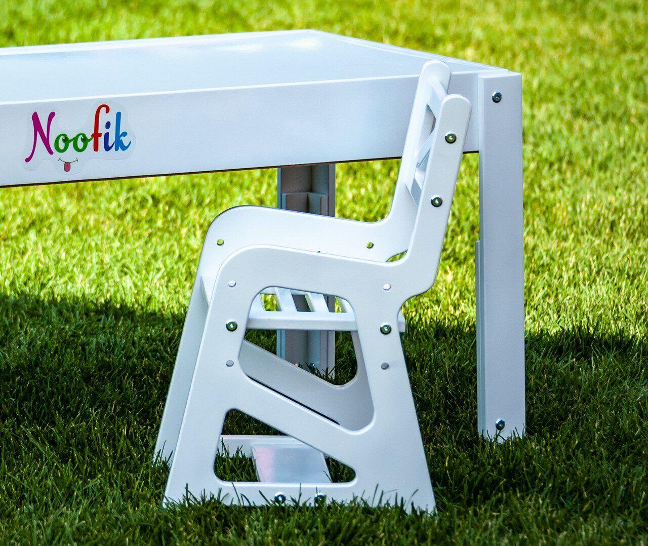 Детский растущий стульчик Noofik для световых столов (МДФ, белый)