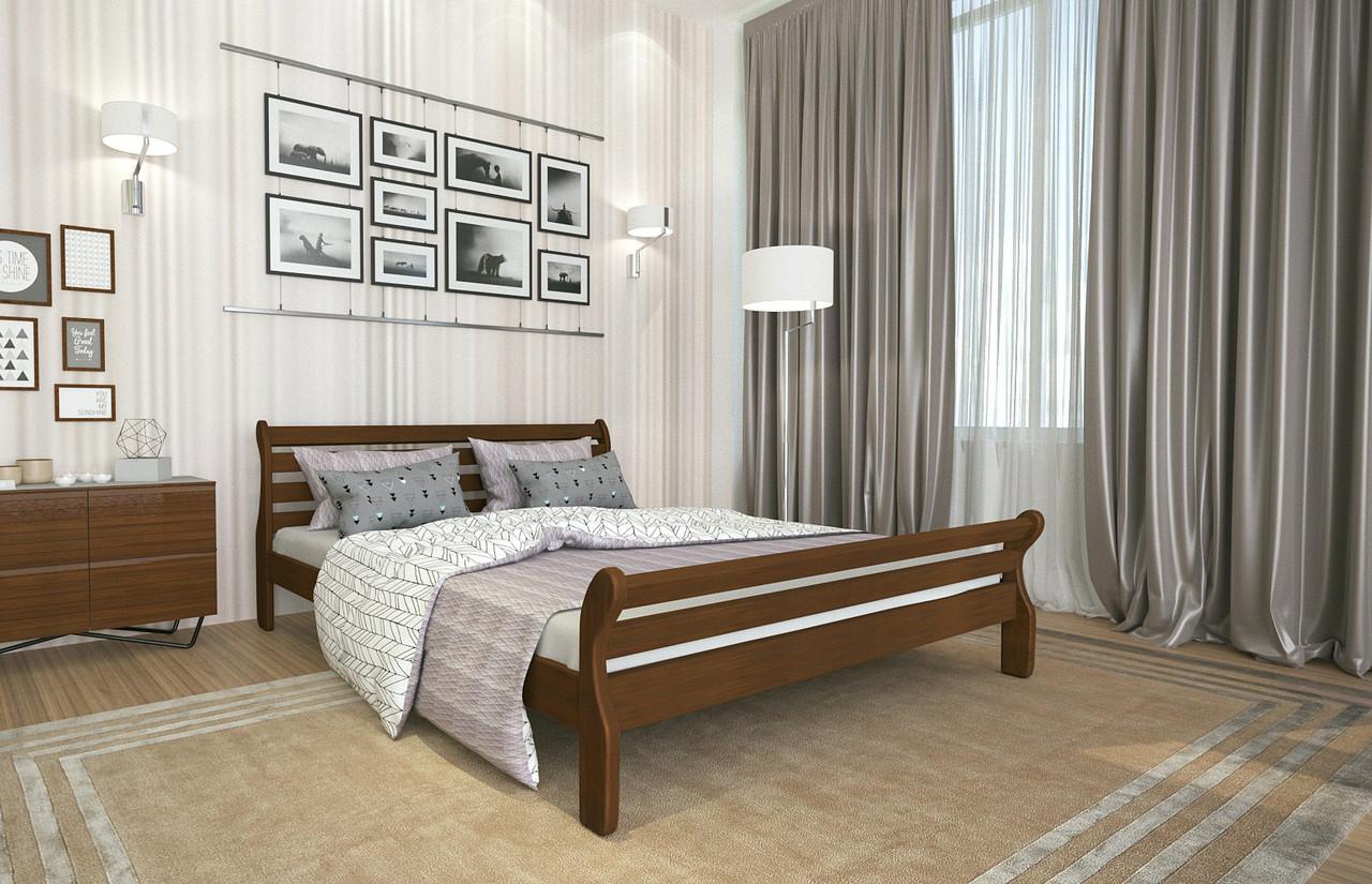 Кровать Двуспальная из дерева сосна 140*200 Аркадия MECANO цвет Темный орех 3MKR012