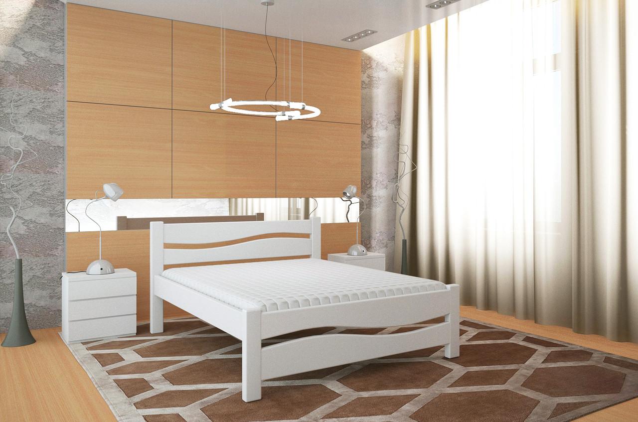 Двуспальная Кровать из дерева сосна 120*200 Волна MECANO цвет Белый 5MKR029