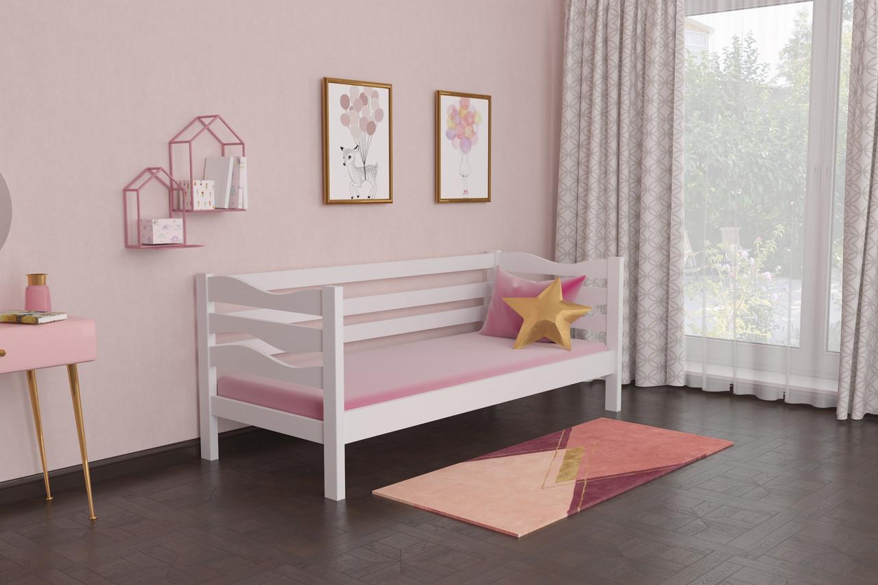 Кровать детская из натурального дерева сосна 80х200 Делиция MECANO цвет Белый 8MKR014