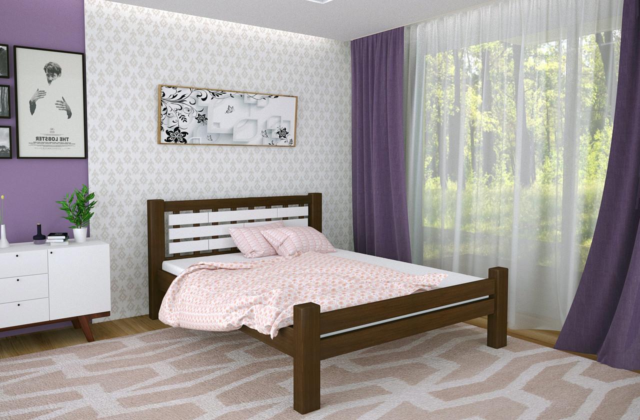 Двуспальная Кровать из дерева сосна 180*200 Гастия MECANO цвет Темный орех 6MKR08