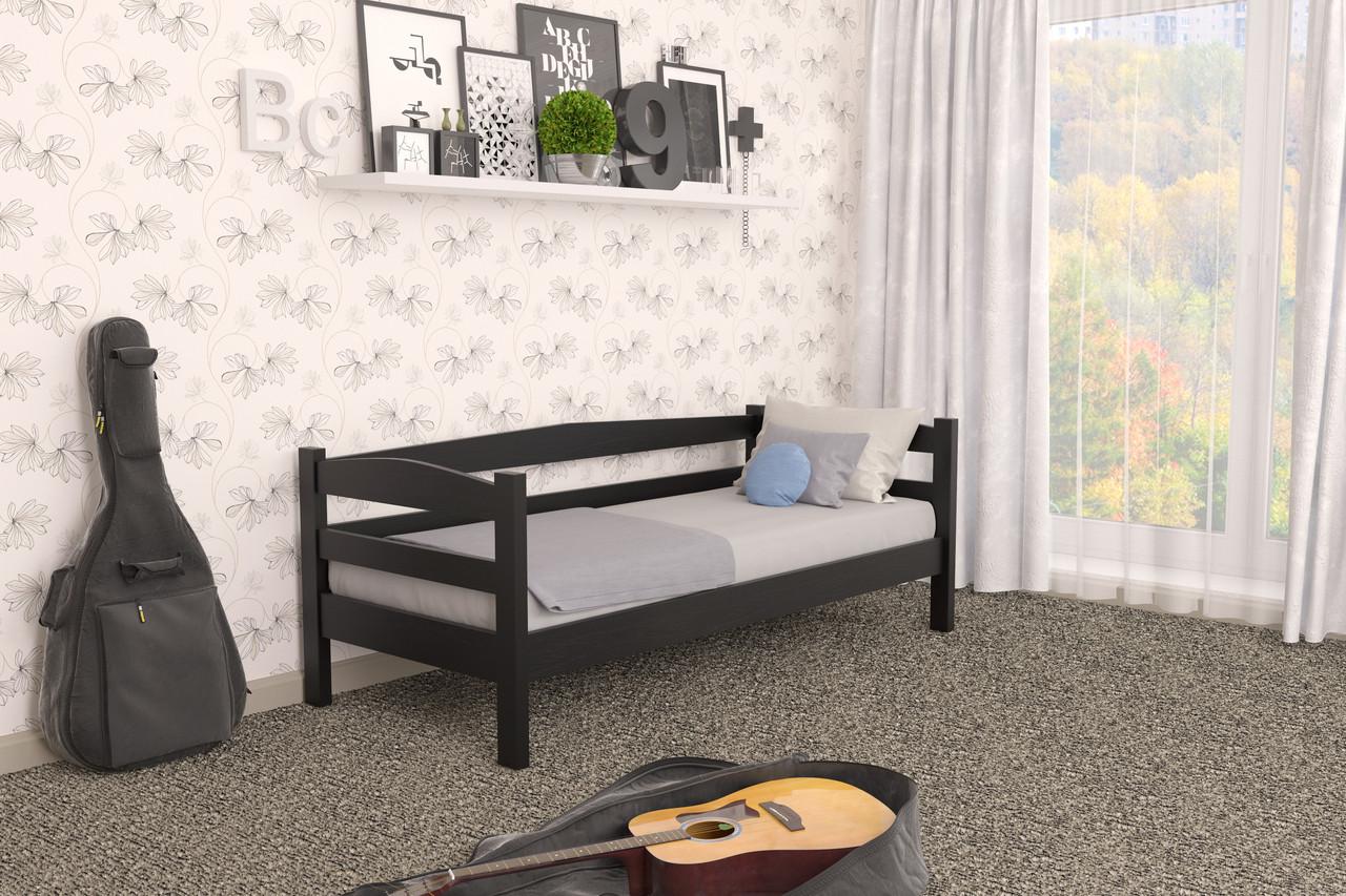 Кровать детская из натурального дерева сосна 90х200 Лёва MECANO цвет Венге 15MKR09