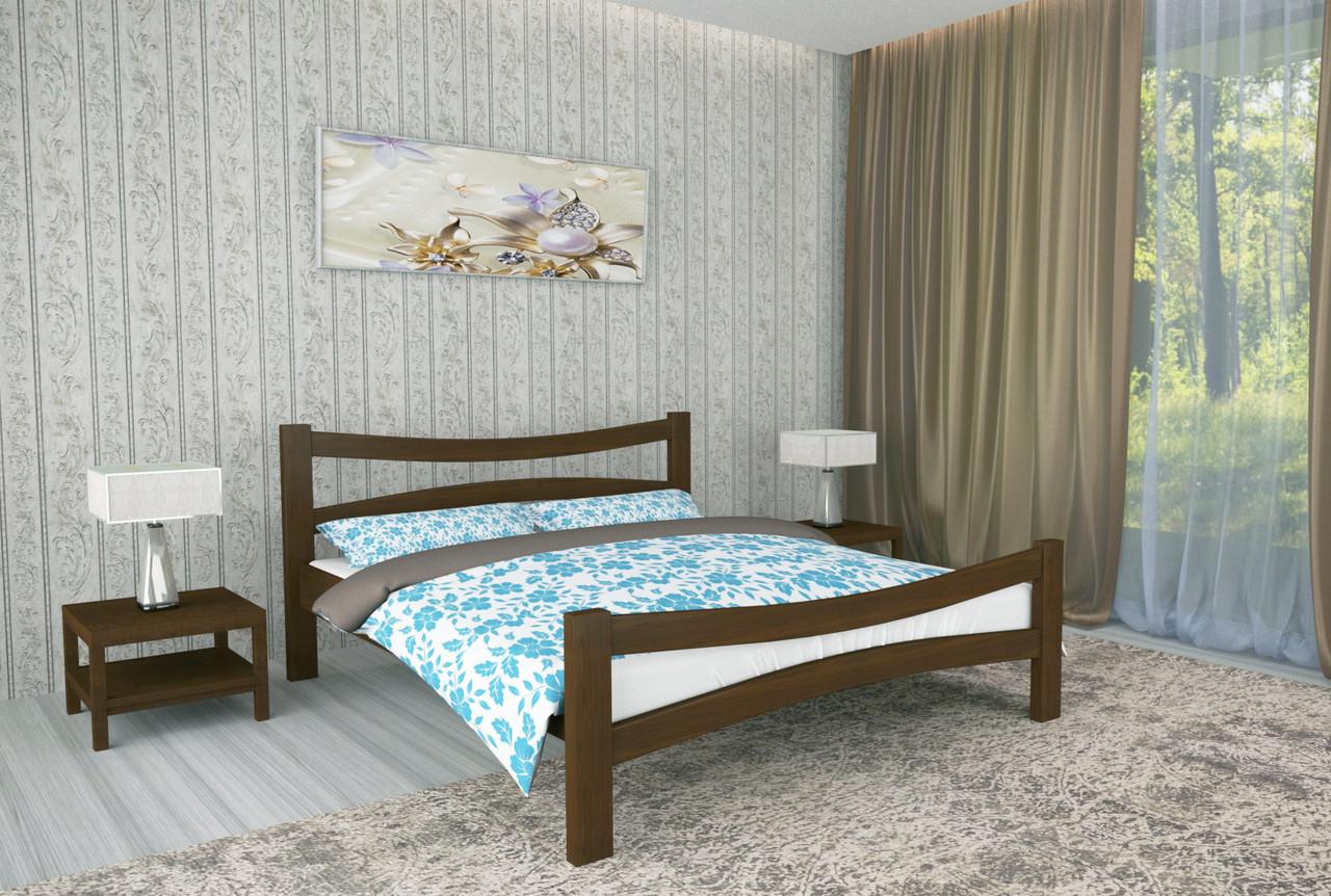 Двуспальная Кровать из дерева сосна 160*190 Деметра MECANO цвет Темный орех 9MKR07