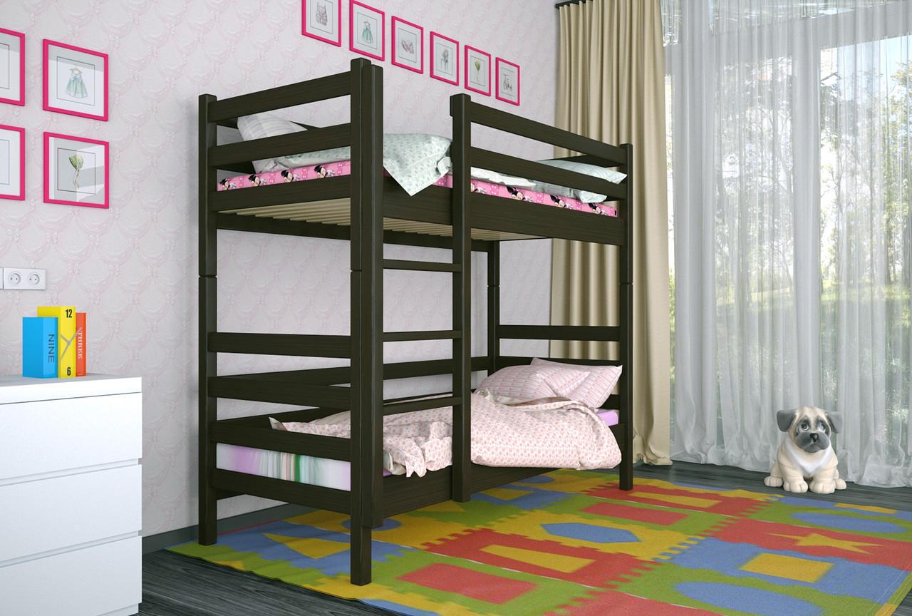 Двухъярусная кровать из дерева Сосна 80*200 Дуос Классик MECANO цвет Венге 11MKR09