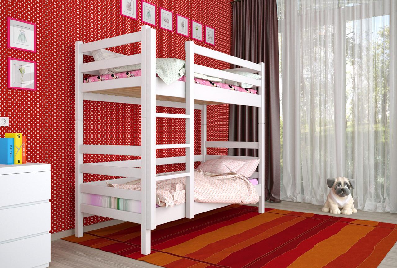 Двухъярусная кровать из дерева Сосна 80*190 Дуос Классик MECANO цвет Белый 11MKR016