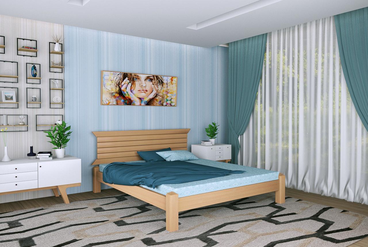 Двуспальная Кровать из дерева сосна 120*190 Гефест MECANO цвет Светлый орех 7MKR015